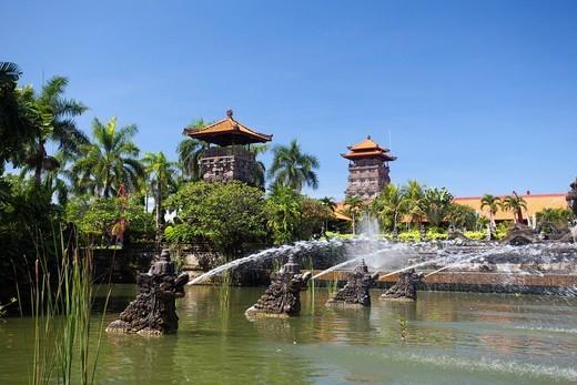 Indonesia, Asia, Bali Island, Nusa Dua, Ayodya, Resort, Entrance fountain, fountains, entrance, garden, tropical, exotic, gorgeous : Stock Photo