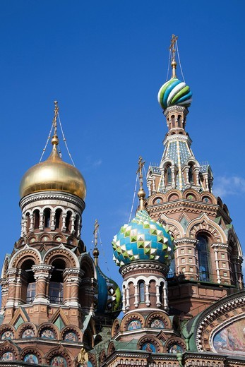 Russia, Europe, Saint Petersburg, Peterburg, City, Church, Saviour, Spilled Blood, religion, bulbous spire, : Stock Photo