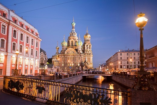 Russia, Europe, Saint Petersburg, Peterburg, City, Church, Saviour, Spilled Blood, religion, river, boat, canal, Gribodeyova Canal, by night : Stock Photo