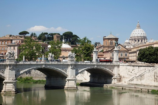 Stock Photo: 1597-151832 Europe, Italy, Rome, Castel Sant´Angelo, Castel S´Angelo, Saint Angelo Castle, Castle, Sant´ Angelo Bridge, Ponte S´Angelo, Bridge, Tourism, Holiday, Vacation