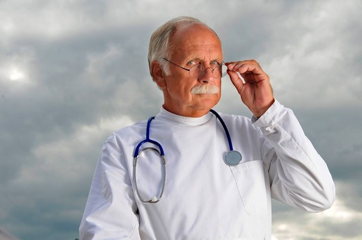 Man, senior, doctor, white, stethoscope, glasses, health, medicine, concepts, : Stock Photo