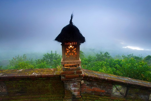 Penelokan, Indonesia, Asia, Bali, vantage point, lighting, investigation, lantern, daybreak, fog, lake, primeval forest, jungle, rain forest, nature, trees : Stock Photo