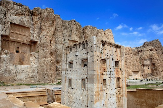 Iran, Iranian, Persia, Persian, Middle East, Middle Eastern, Western Asia, travel, travel, destinations, world locations, Architecture, building, Kaaba of Zoroaster, 6th century BC, Naqsh_e Rustam, Fars province, Naqsh_e Rostam, Achaemenid : Stock Photo