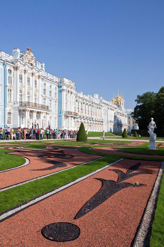 Russia, Near Saint Petersburg, Peterburg, City, Pushkin, Tsarskoye Selo, City, Catherine palace, Palace, facade : Stock Photo