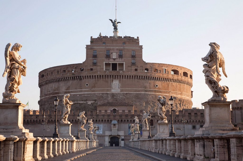 Stock Photo: 1597-153570 Europe, Italy, Rome, Castel Sant´Angelo, Castel S´Angelo, Saint Angelo Castle, Castle, Sant´ Angelo Bridge, Ponte S´Angelo, Bridge, Tourism, Holiday, Vacation