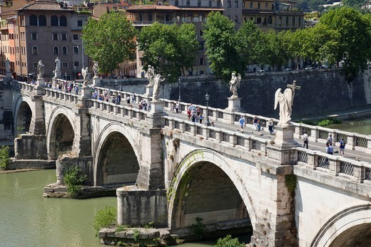Europe, Italy, Rome, Sant´ Angelo Bridge, Ponte S´Angelo, Bridge, Tiber River, River, Tourism, Holiday, Vacation : Stock Photo