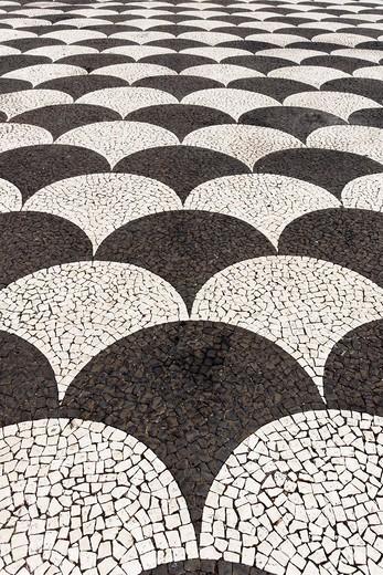 Europe, Portugal, Republica Portuguesa, Madeira, Funchal, Praca do Municipio, plaster, places, place of interest, tourism, mosaic, pattern, structure, stone : Stock Photo