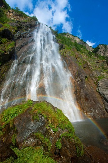 Stock Photo: 1597-153749 Pissevache, Switzerland, Valais, brook, waterfall, rock, cliff, rainbow, nature