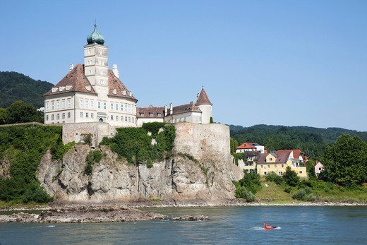 Stock Photo: 1597-153917 Europe, Austria, Wachau, Schonbuhel, Schonbuhel Castle, Castle, Castles, Danube, Danube River, Donau, Donau River, River, Rivers, UNESCO, UNESCO World Heritage Sites, Tourism, Travel, Holiday, Vacation