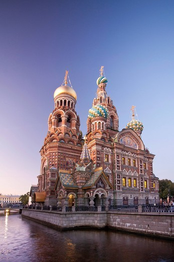 Stock Photo: 1597-154042 Russia, Europe, Saint Petersburg, Peterburg, City, Church, Saviour, Spilled Blood, religion, river, boat, canal, Gribodeyova Canal, by night