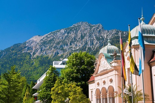 Europe, Germany, Bavaria, Berchtesgaden county, Berchtesgaden, Bad Reichenhall, town, city, Reichenhall, house, home, building, construction, building, construction, historical, old, wall, health resort house, old health resort house, architecture, facade. Europe, Germany, Bavaria, Berchtesgaden county, Berchtesgaden, Bad Reichenhall, town, city, Reichenhall, house, home, building, construction, building, construction, historical, old, wall, health resort house, old health resort house, architec : Stock Photo