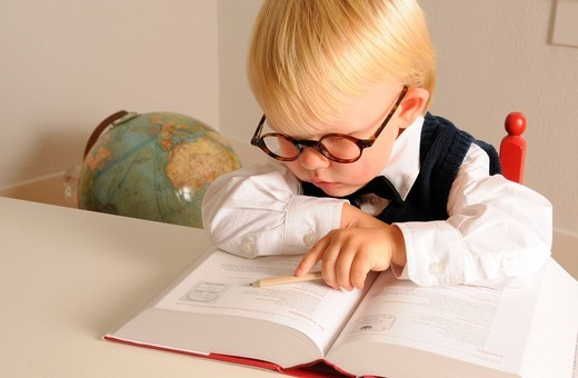 Stock Photo: 1597-154255 intelligent, child, education, highly gifted, further education, school, kindergarten, talent, IQ, genius, support, promotion, learn, knowledge, book, read