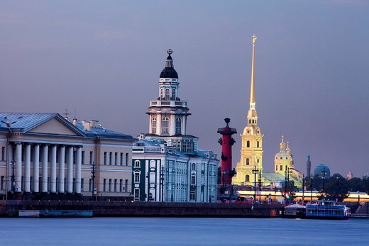 Russia, Europe, Saint Petersburg, Peterburg, City, Kunstkamera, Rostral Column, column, Peter and Paul, Cathedral, Neva, museum : Stock Photo