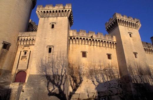 architecture, battlement, castle, Chateau de Tarascon, detail, fortress, France, Europe, historical, merlons, Proven : Stock Photo
