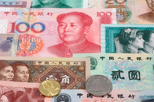 Stock Photo: 1597-155134 Money, notes, coins, colorful, Yuan, CNY, Renminbi, RMB, China, currency,
