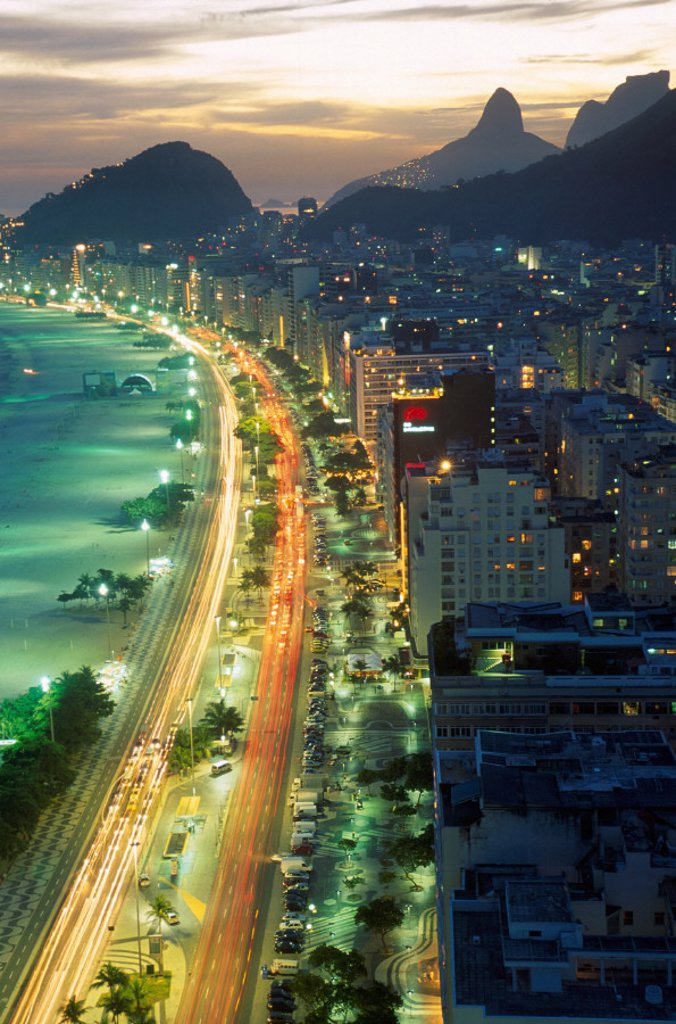 at night, beach, Brazil, South America, city, coast, Copacabana, night, Rio de Janeiro, sea, seashore, town : Stock Photo