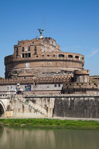 Europe, Italy, Rome, Castel Sant´Angelo, Castel S´Angelo, Saint Angelo Castle, Castle, Sant´ Angelo Bridge, Ponte S´Angelo, Bridge, Tiber River, River, Tourism, Holiday, Vacation : Stock Photo
