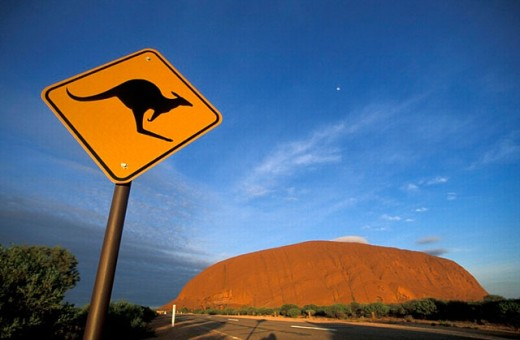 attention, Australia, care, Ayers Rock, kangaroo, mood, Northern Territory, park, rock, shield, sign, street, Uluru : Stock Photo