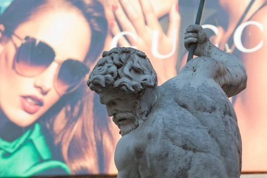 Europe, Italy, Rome, Piazza Navona, Neptune Fountain, Fontana di Nettuno, Fountain, Neptune Statue, Tourism, Travel, Holiday, Vacation : Stock Photo