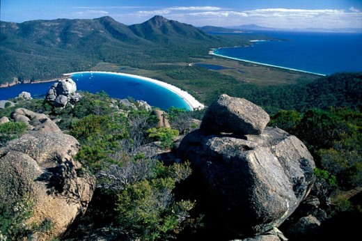 Stock Photo: 1597-15629 Australia, bay, coast, Freycinet, national park, hill, mountains, overView, from Mount Amos, park, rock, scenery, la
