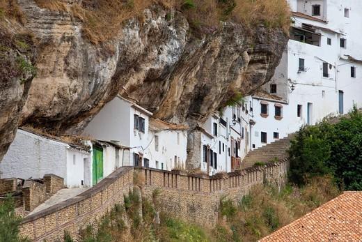 Spain, Europe, Andalucia, Setenil, curious, dangerous, houses, rocks, street : Stock Photo