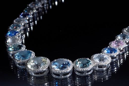 Bucherer, precious stones, jewellery, Collier, sapphires, precious stone, diamonds, diamond, chain, valuable, expensive, : Stock Photo