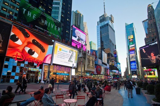 USA, United States, America, New York, Manhattan, Times Square, active, alive, big, busy, city, colorful, landmark, dream, lights, modern, building, center, advertising, : Stock Photo
