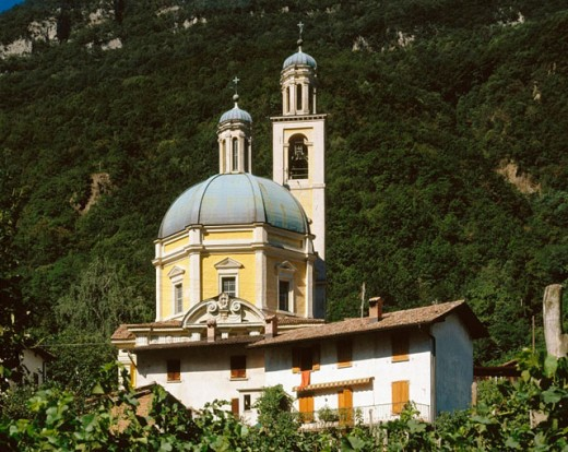 hill, church Santa Croce, San vital, Switzerland, Europe, Ticino, wood, forest, residential building, : Stock Photo