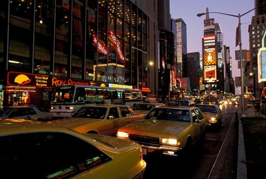 at night, Manhattan, New York, night, street, street scene, taxi, Times Square, USA, America, United States : Stock Photo