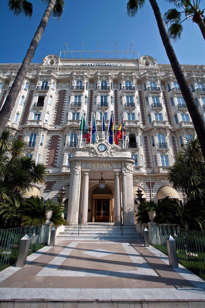 Stock Photo: 1597-158385 France, Europe, Cote d´Azur, Cannes, hotel, Carlton, palms, buildings, constructions, facade, alpes maritime, Riviera, La Croisette