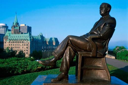Canada, North America, America, Lester Bowles Pearson, monument, Ontario, Ottawa, Parliament Hill, Pearson statue, s : Stock Photo