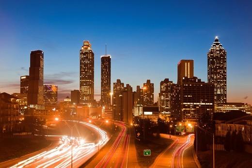 Stock Photo: 1597-159345 USA, United States, America, Georgia, Atlanta, architecture, cars, downtown, modern, new, pollution, rush hour, skyline, slow, night, lights, traffic, highway