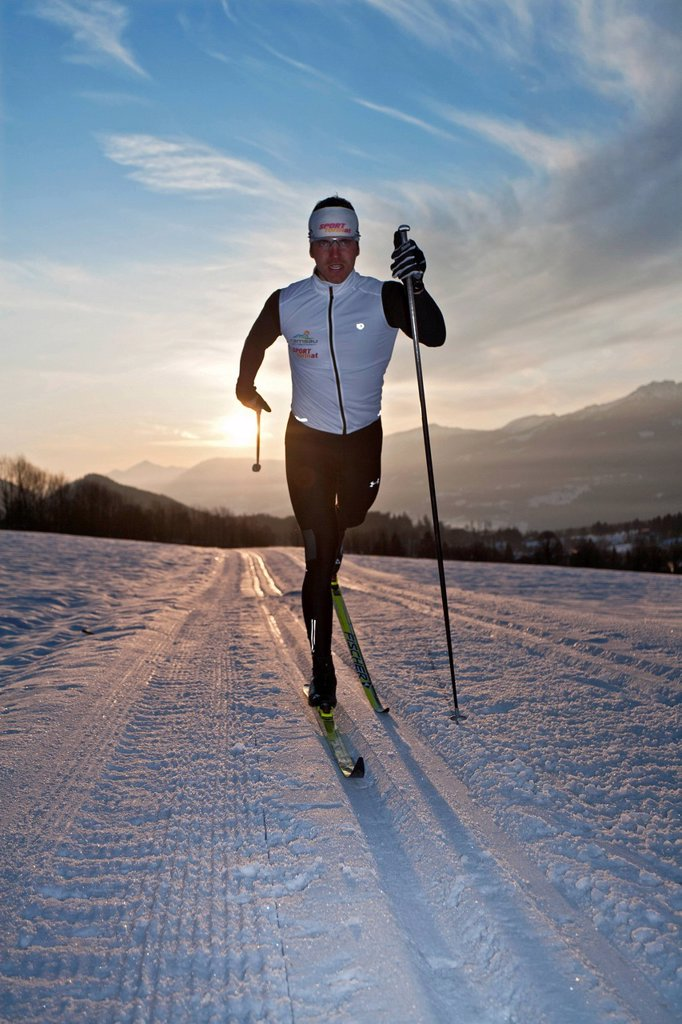 Stock Photo: 1597-159603 Cross_country, skiing, morning, sport, dusk, twilight, Ramsau, Styria, man, ski, fitness, Austria, winter