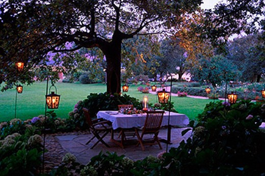 Africa, catering, cuisine, desk, dusk, food, hotel, kitchen, lanterns, outside, Paarl, Palmiet Valley Estate, park, : Stock Photo