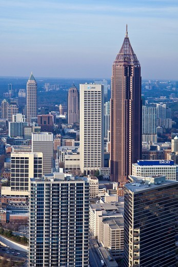 Stock Photo: 1597-159946 USA, United States, America, Georgia, Atlanta, architecture, downtown, buildings, modern, new, open, skyline, city, tall, wide