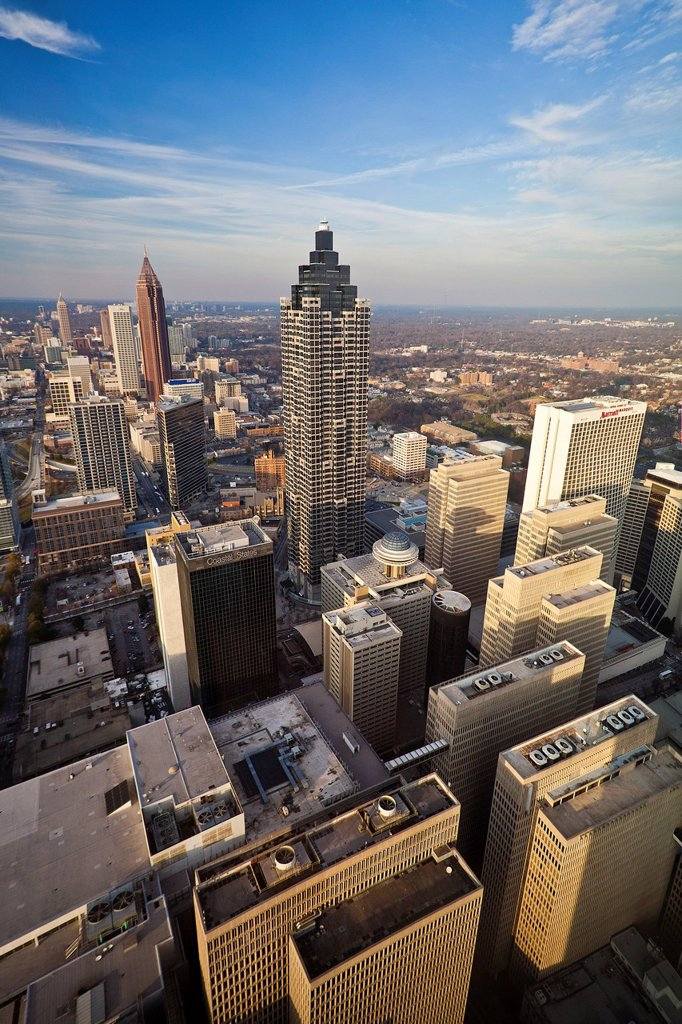 Stock Photo: 1597-159947 USA, United States, America, Georgia, Atlanta, architecture, downtown, buildings, modern, new, open, skyline, city, tall, wide