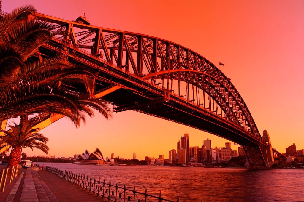Stock Photo: 1597-160485 Sydney opuses House, Harbour bridge, opera, opera_house, bridge, harbour, port, water, highlight, place of interest, landmark, Sydney, city, town, city, metropolis, Australia, New South Wales, landmarks, travel, traveling, tourism, Luna park, Sundown, sun. Sydney opuses House, Harbour bridge, opera, opera_house, bridge, harbour, port, water, highlight, place of interest, landmark, Sydney, city, town, city, metropolis, Australia, New South Wales, landmarks, travel, traveling, tourism, Luna park,