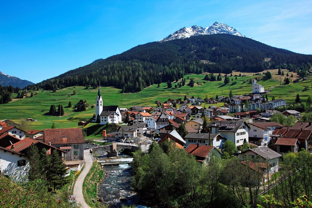 Stock Photo: 1597-160677 Travel, Nature, Geography, Europe, Switzerland, Graubunden, Grisons, Savognin, Village, Tranquil, Idyllic, Scenic, Day, Holiday, No People, nobody, Horizontal