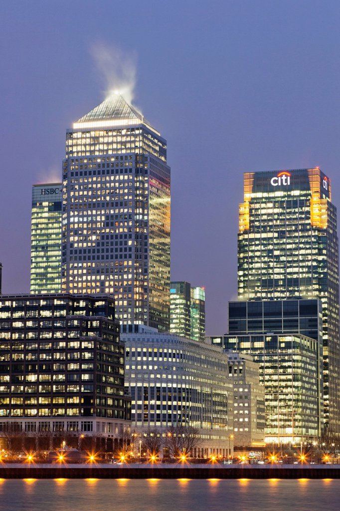 Stock Photo: 1597-160840 UK, United Kingdom, Great Britain, Britain, England, London, Docklands, Canary Wharf, Skyscrapers, Office Block, Business, Commerce, Financial District, Financial Centre, Architecture, River Thames, Thames River, Night View, Illumination, Moody