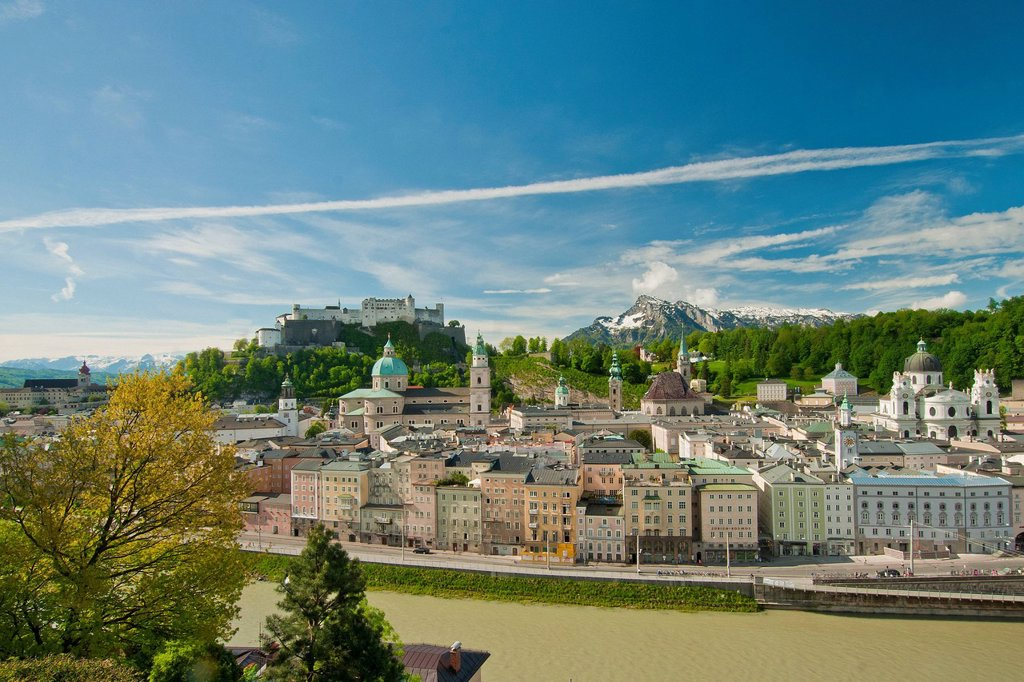 Stock Photo: 1597-161166 Austria, Salzburg, Saint Peter, fortress, fortress Hohensalzburg, castle, church, faith, religion, art, skill, culture, cathedral, dome, Peter, Franciscan, steeple, Old Town, town, city, panorama, town panorama, Old Town panorama, river, Salzach, water, U. Austria, Salzburg, Saint Peter, fortress, fortress Hohensalzburg, castle, church, faith, religion, art, skill, culture, cathedral, dome, Peter, Franciscan, steeple, Old Town, town, city, panorama, town panorama, Old Town panorama, river, Salza