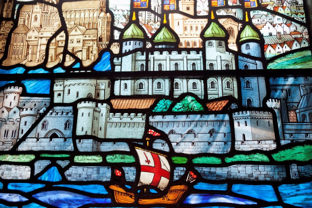 Stock Photo: 1597-161588 UK, United Kingdom, Great Britain, Britain, England, Europe, London, City, All Hallows, By The Tower Church, Church, Stained Glass Window, Stained Glass, Tower of London, Tower, River Thames, Interior