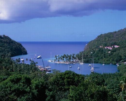 bay, boats, coast, Marigot Bay, overview, Saint Lucia, scenery, landscape, sea, Caribbean : Stock Photo