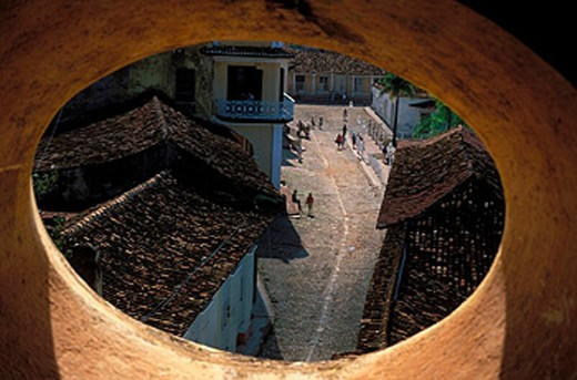 Stock Photo: 1597-16261 church, Convento de San Francisco de Asis, Cuba, fenster, hole, ovally, roofs, street, Caribbean, Trinidad, UNESCO,