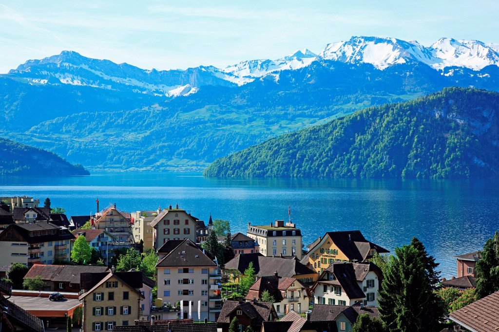 Stock Photo: 1597-162737 Switzerland, Canton Lucerne, Weggis at Lake Lucerne
