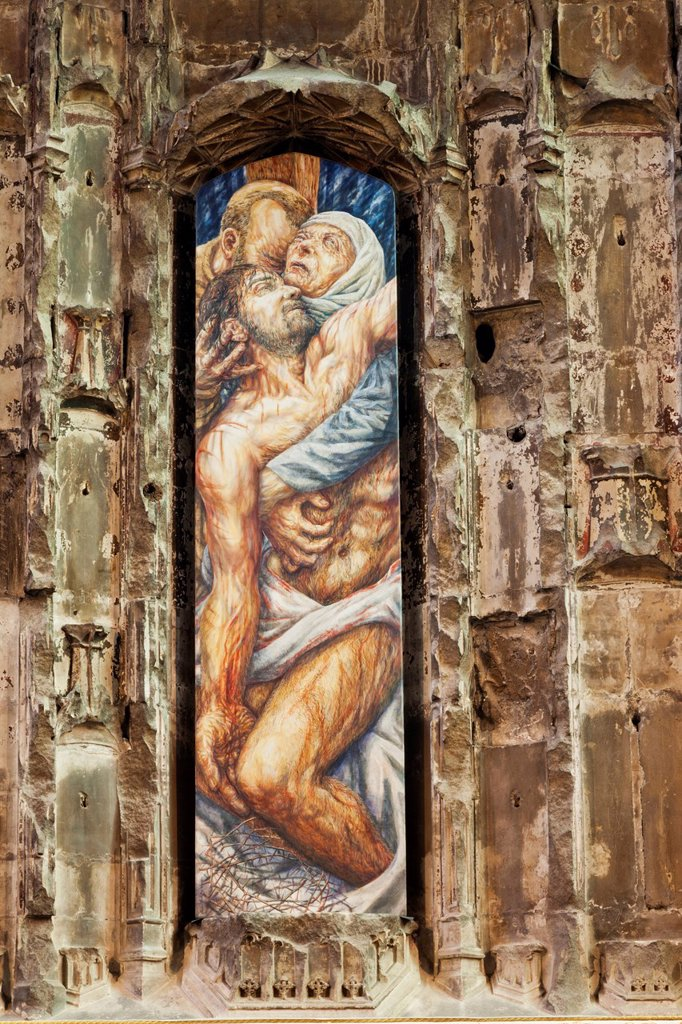 UK, United Kingdom, Great Britain, Britain, England, Europe, Gloucestershire, Gloucester, Gloucester Cathedral, Cathedral, Cathedrals, Christ, Jesus Christ, The Bible, Pieta, Iain McKillop, Interior : Stock Photo