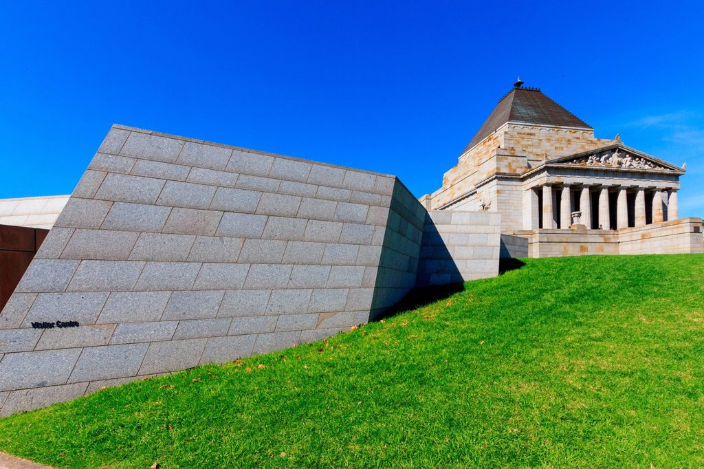 Stock Photo: 1597-163646 Australia, James Wardrop, Kings Domain, Melbourne, Phillip Hudson, Shrine of Remembrance, St. Kilda Road, Tynong granite, Victoria, World War I, monument, style, veterans