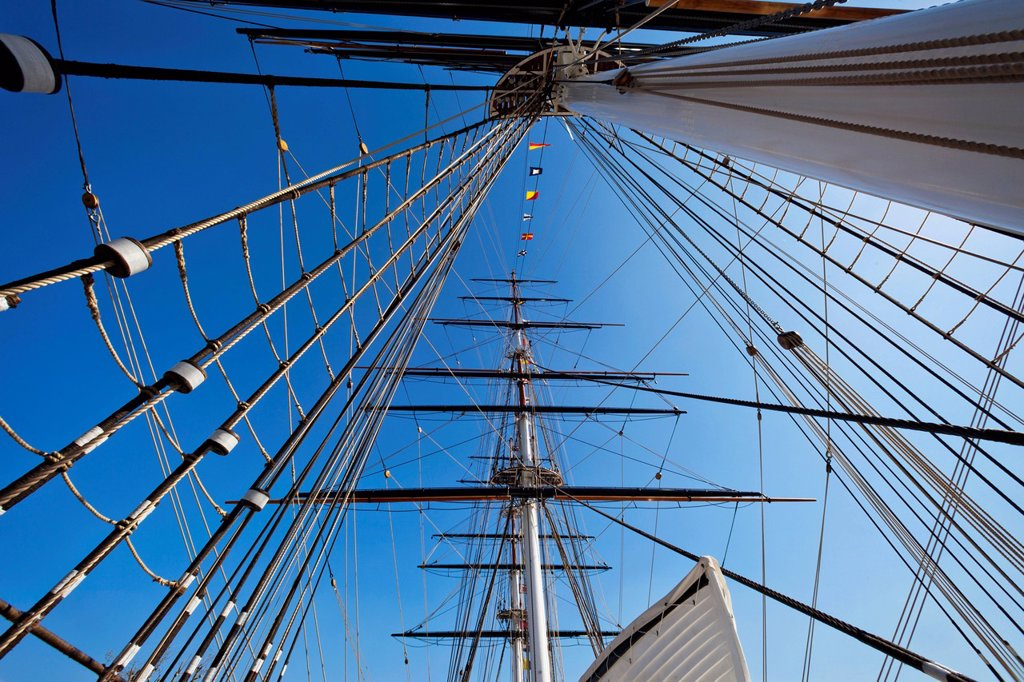 UK, United Kingdom, Great Britain, Britain, England, Europe, London, Greenwich, Cutty Sark, Ship, Boat, Masts, UNESCO, World Heritage, Site : Stock Photo