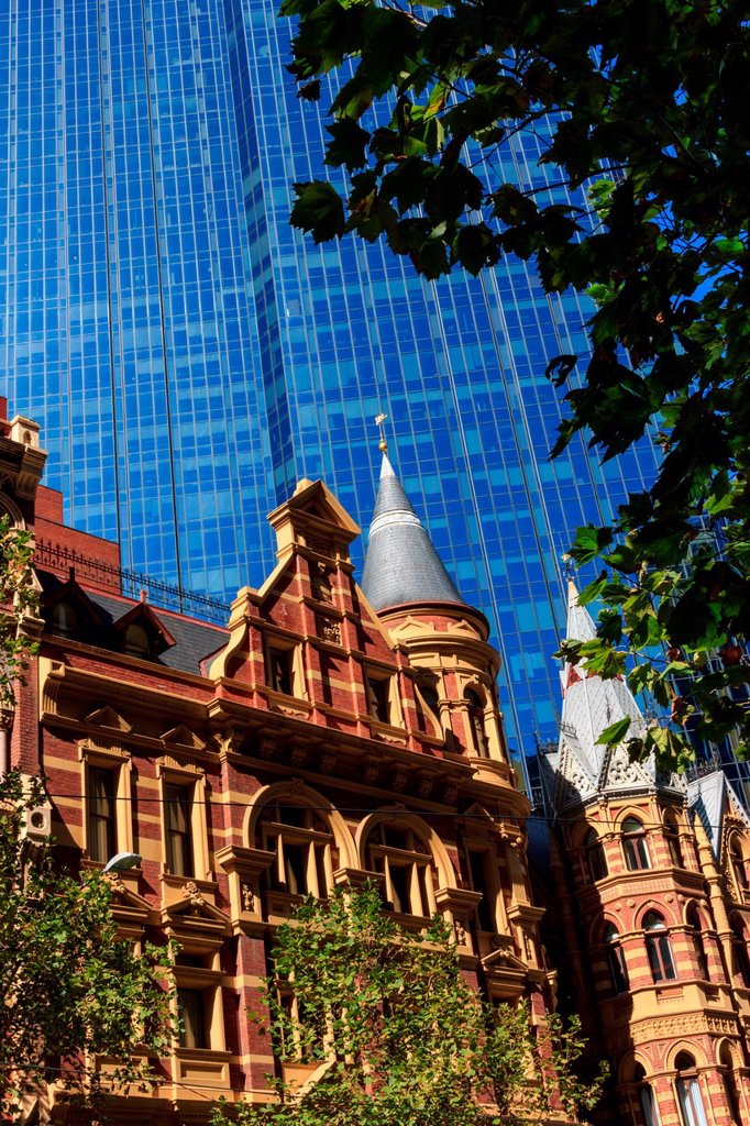 Stock Photo: 1597-163942 Australia, building, Collins Street, Melbourne, Neo_Gothic, Rialto Building, Winfield Building, Rialto Towers, Victoria, hotel