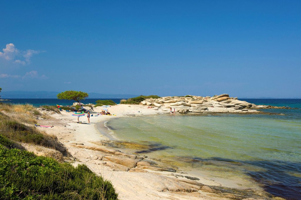 Stock Photo: 1597-164027 Chalkidiki, Greece, Halkidiki, Travel, vacation, Europe, European, day, Karidi Beach, Vouvourou, Sithonia, sand beach, sand beaches, beach, seashore, beaches, seashores, coast, coasts, seashore, seashores, sea, scenery, person, people, persons, Karidi