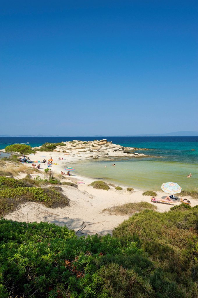 Stock Photo: 1597-164090 Chalkidiki, Greece, Halkidiki, Travel, vacation, Europe, European, day, Karidi Beach, Vouvourou, Sithonia, sand beach, sand beaches, beach, seashore, beaches, seashores, coast, coasts, seashore, seashores, sea, scenery, vertical, Karidi